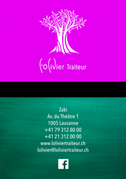 Graphisme - cartes de visite L'Olivier Traiteur - Côté Gauche Christophe Golay