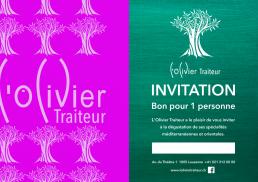 Graphisme - invitations L'Olivier Traiteur - Côté Gauche Christophe Golay